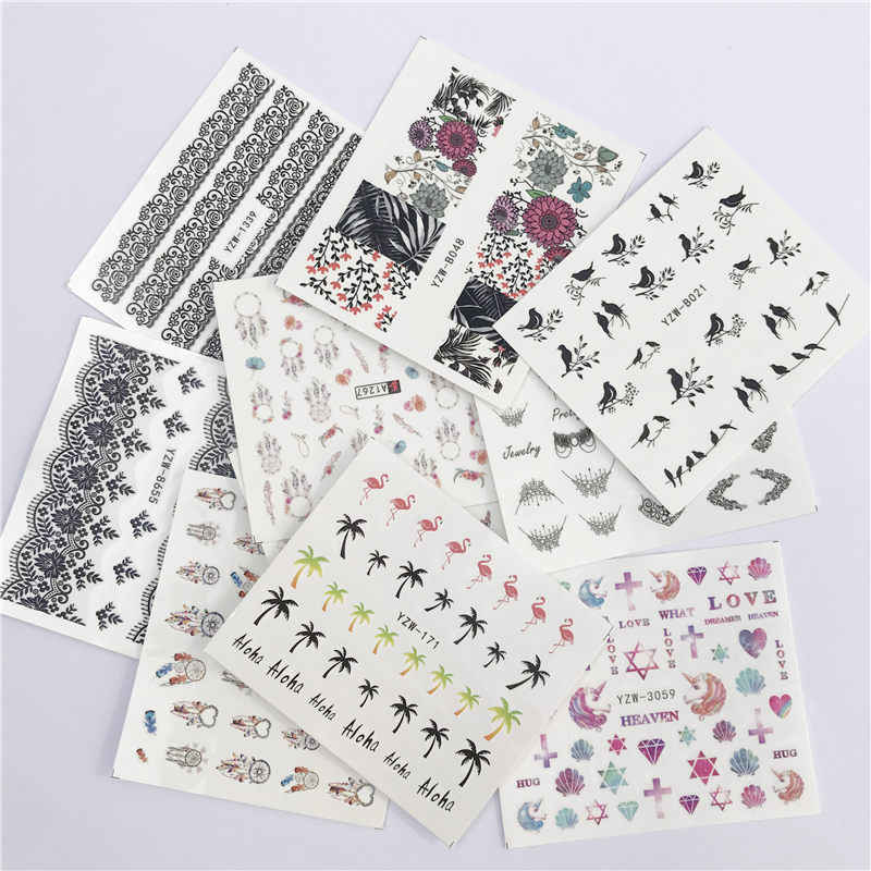 LCJ Colorful Flower Coconut Tree Black Bird Nail Art Water Decals Transfer Stickers Cute Cartoon Nails Salon Sticker Decoration