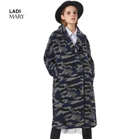 LADIMARY New Lady Outerwear Autumn/Winter Coat Women Long Clothes Wool Coat single button striped women's dress LMD16008