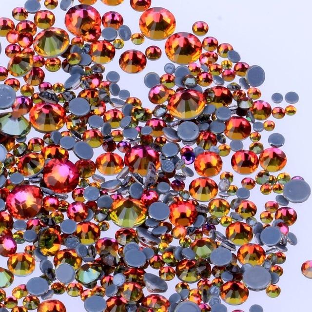 Все размеры 40 цветов кристалл AB исправление стразы, Стекло Стразы исправленное железо на Стразы для дизайна ногтей шитье и ткань Decoretion - Цвет: Siam Volcano