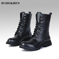 Genuine Leather Men Military Boots Men S Motorcycle Riding Hunting Casual Walking Shoes Designer Martin Botas