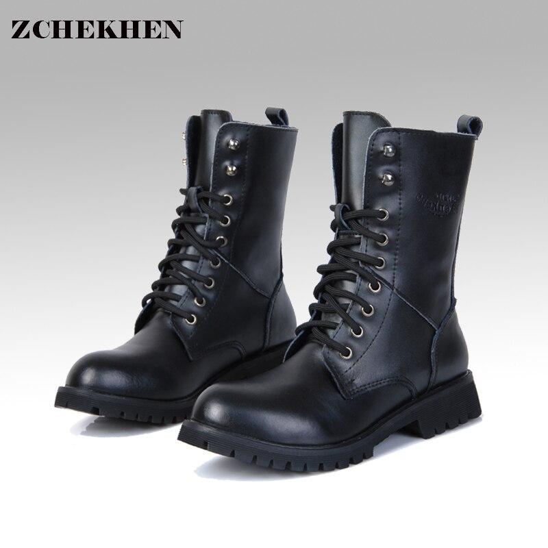 Véritable Cuir Hommes Militaire Bottes Hommes de Moto Equitation Chasse Casual Marche Chaussures Designer Martin Botas Hombre noir #11