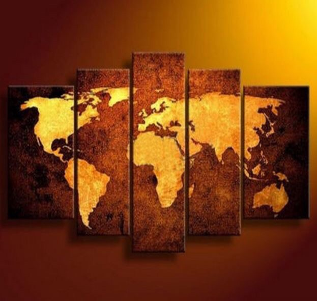 5 Pcs Print Abstract Old World Map Modern