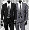 2015 осень/весна Мужчины хан издание воспитать в себе мораль бутик модной одежды костюм костюмы + брюки/черный и серый костюм наборы