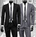 2015 autumn / spring Men is han edition cultivate one's morality fashion boutique suit suits + pants / black and grey suit sets