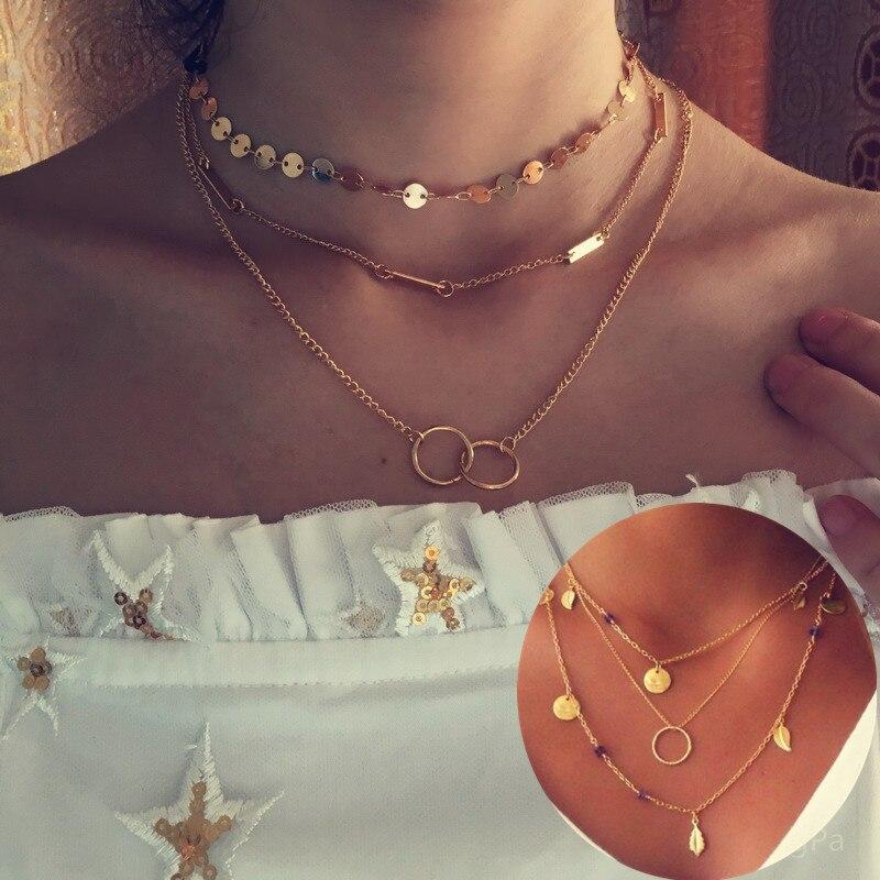Pameng серебро Цвет цепи листья Multi Слои колье Цепочки и ожерелья для Для женщин Collier Femme Модные украшения золотой Цвет