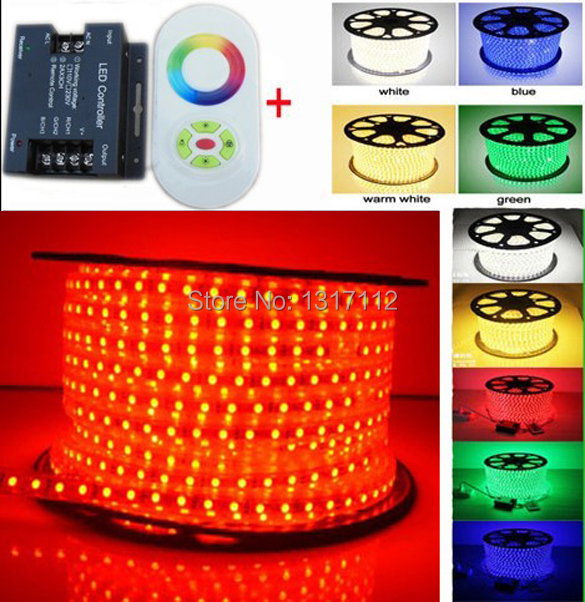 led light strip 110v 220v rgb led strip 5050 lamps + UE/US plug Touching RF remote controller And IR Dimmer