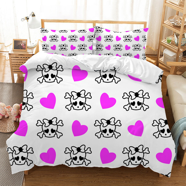 3D SKULL RED LIPS BEDDING SET (2 VARIAN)