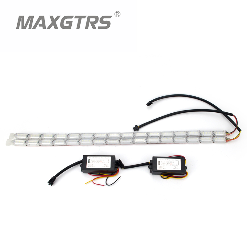 2x Car Waterproof Flexible DRL Switchback LED Knight Rider Strip Light Headlight Sequential Flasher Turn Signal White/Amber