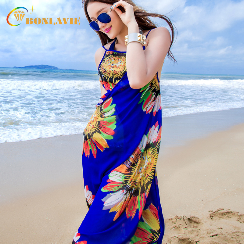 151439ed58c34 2019 Women Beach Cover Ups Lady Chiffon Printed Pareo Sunscreen Beach Tunic  Sexy Swimwear Cover Up Saida De Praia