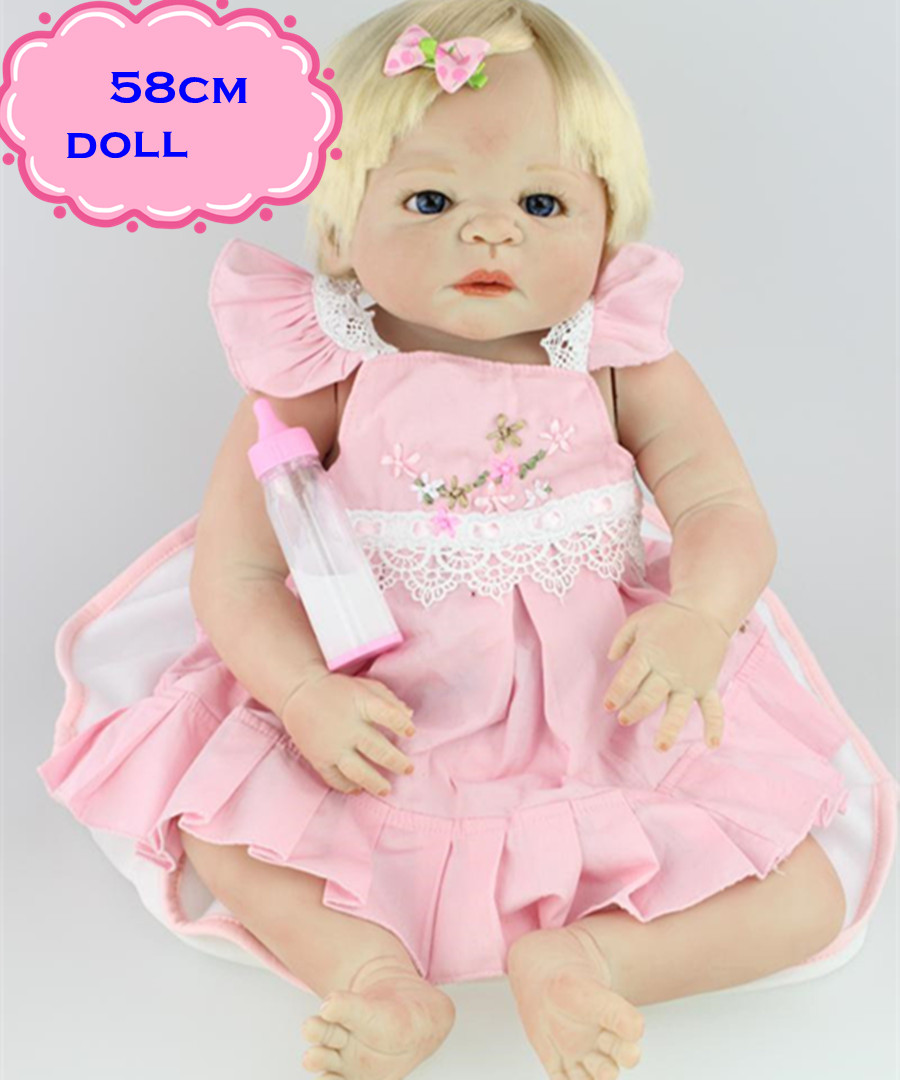 New Arrival 22inch Full Silicone Reborn Baby Dolls With Pink Skirt Like A Little Princess 100