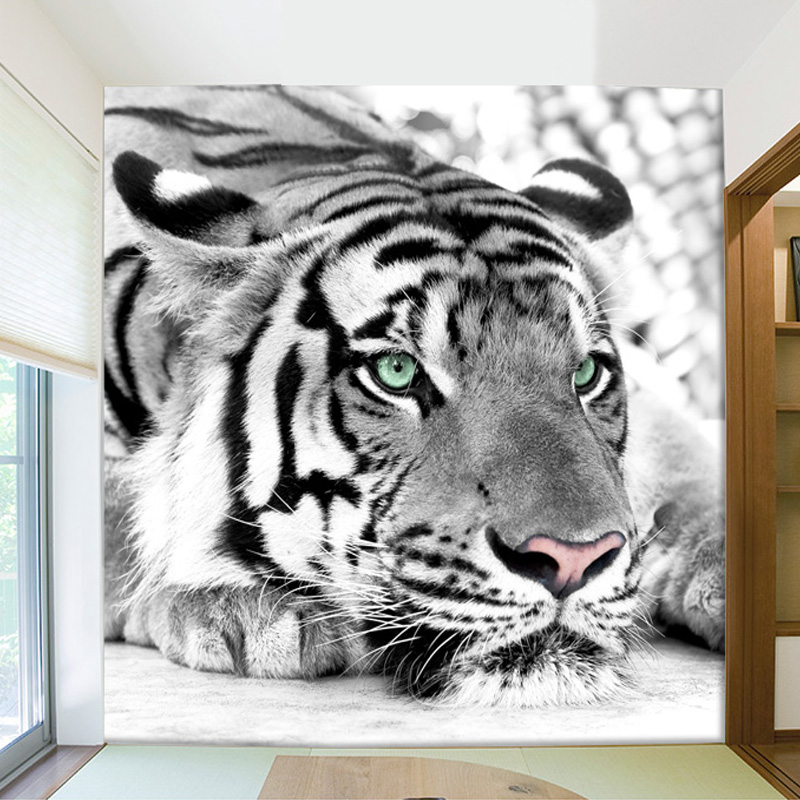 Free Shipping Customized Black And White Tiger Animals 3D Wallpaper Mural Living Room Sofa TV Backdrop Room Entrance Wall Papers