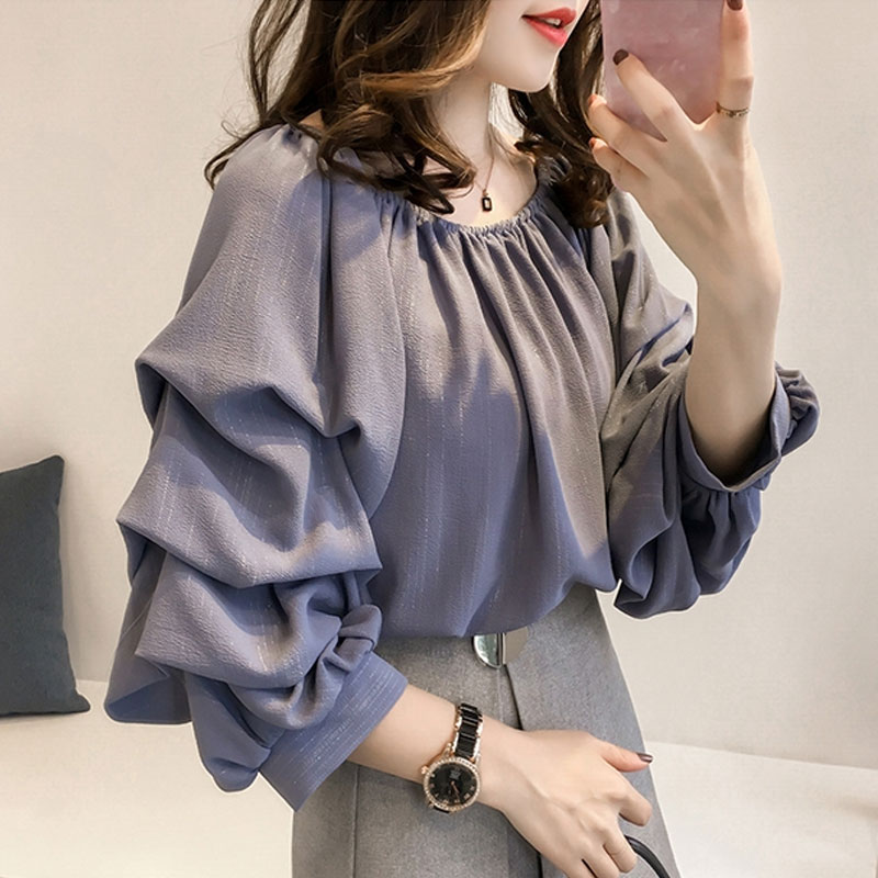 Korean Elegant Womens Tops and   Blouses   Long Sleeve Loose Boat Neck Draped Off Shoulder Chiffon   Blouse     Shirt   Blusas Plus Size
