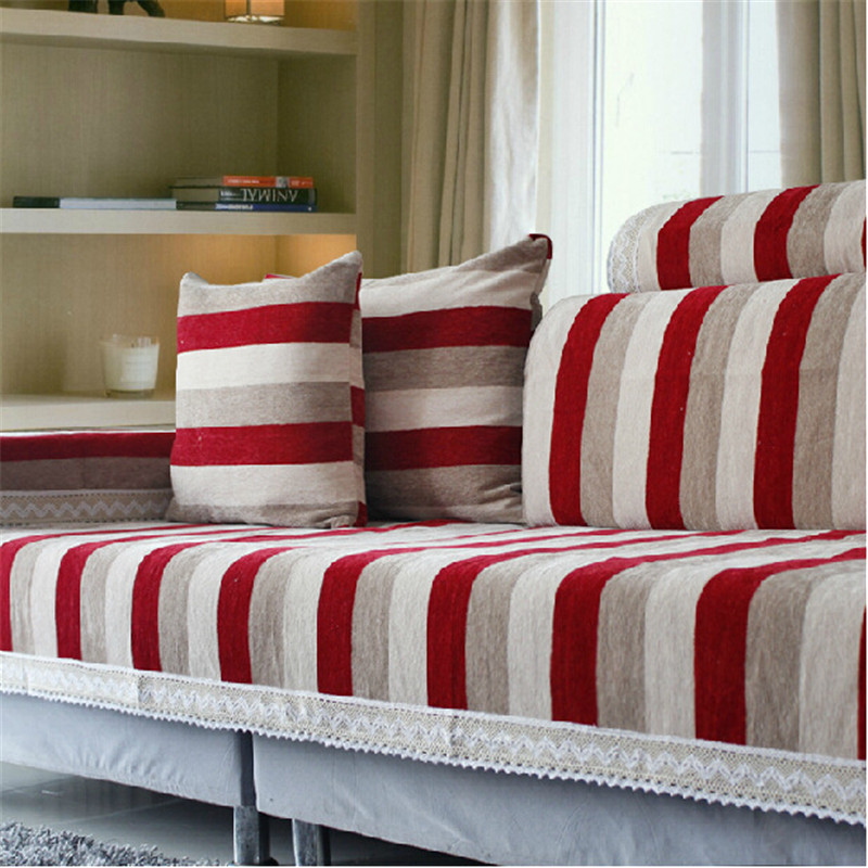 Striped Corner Sofa Covers Set Chenille Flocked Sectional Seat Mat House Canape Cover Settee Case Couch Tray Armrest In From Home
