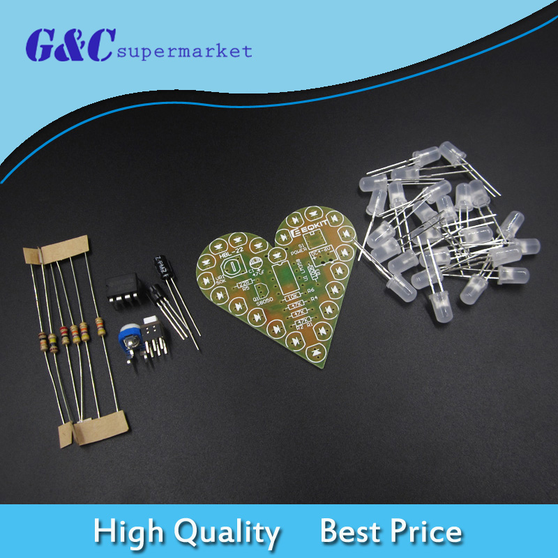 DIY Kit Heart Shape Breathing Lamp Kit DC4V-6V Breathing LED Suite DIY Electronic