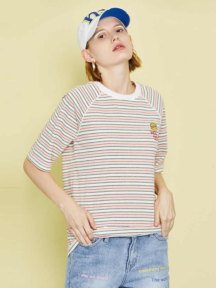 Toyouth женские летние полосатые с вышивкой хлопковые повседневные свободные с коротким рукавом и круглым вырезом модные футболки топы