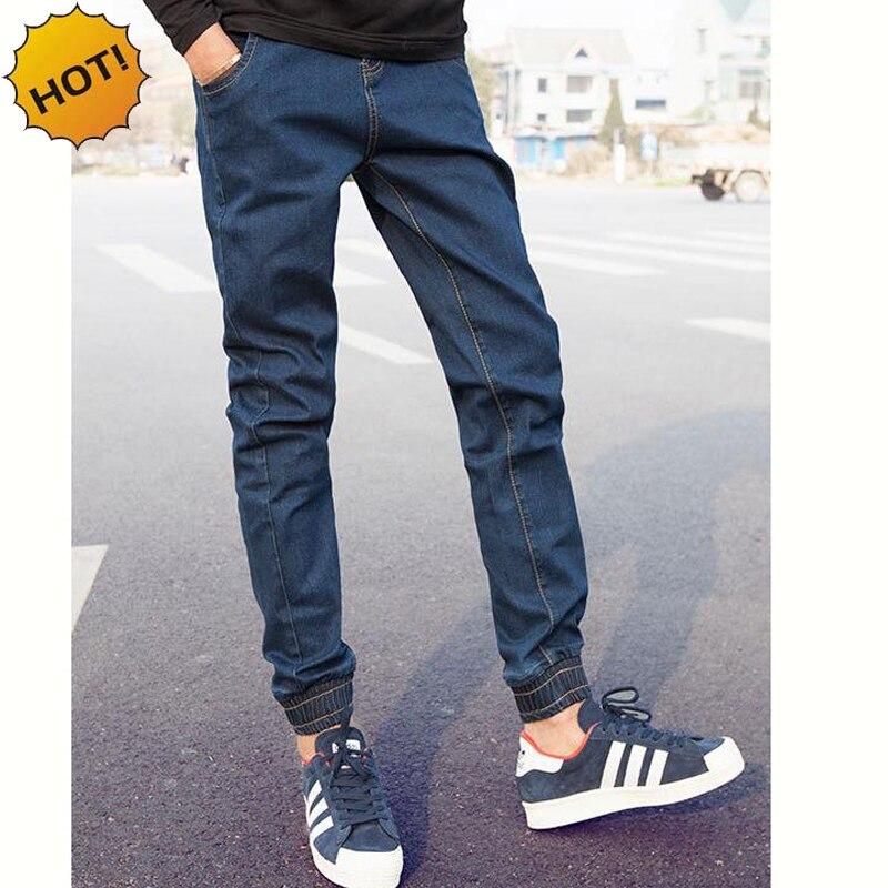Wholesale 2016 Denim Jeans Men Cuffed Leg Pants Teenagers Elastic Waist Drawstring Ninth Pants Boys Hip Hop Harem Pants 27-34