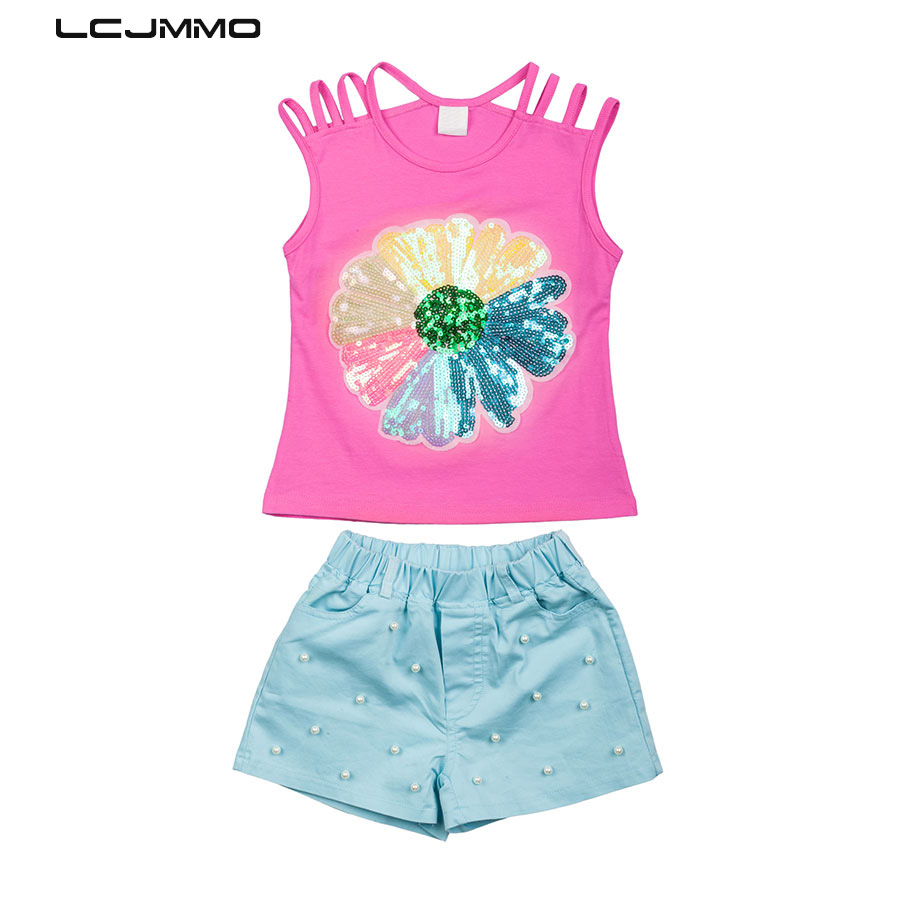 LCJMMO Fashion Girls Clothing Set 2018 Summer Baby Girls Clothes Rainbow Sequin Flowers Vest + Shorts Suit Children Clothes 3-8Y 2017 new pattern small children s garment baby twinset summer motion leisure time digital vest shorts basketball suit