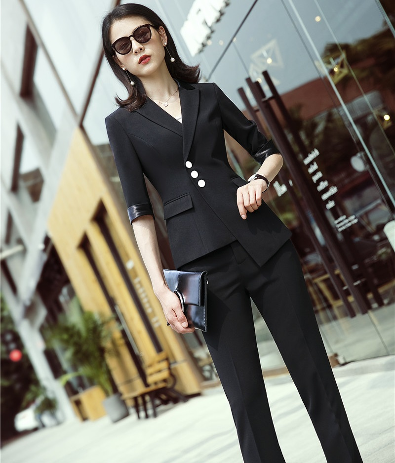 Fashion Black Blazers Business Women Work Suits With 2 Piece Pencil Pants And Jackets Coat For Ladies Office Pantsuits
