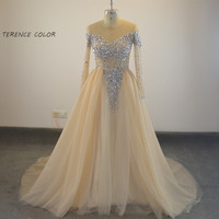 Saudi Arabia Gold Sequined Plus Size Prom Dresses A Line V Neck Pleats Cheap Party Formal