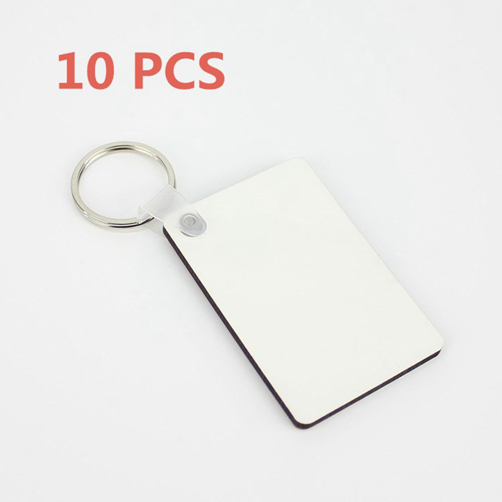 10Pcs Rectangle Blank MDF Key Chain Wooden Board Sublimation Printing DIY Key Rings Pendant Jewelry Accessory LYY9126