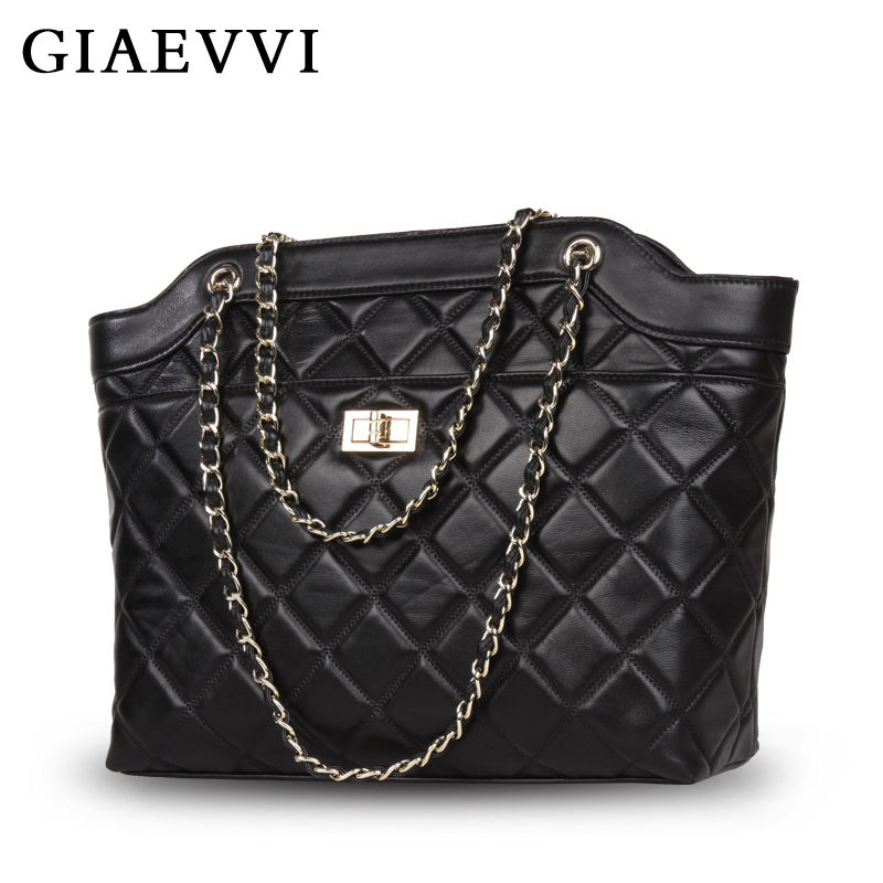 GIAEVVI Genuine Leather luxury women shoulder bag Famous Brand women handbags 2018 New High quality Chain bolsa feminina Tote chispaulo women genuine leather handbags cowhide patent famous brands designer handbags high quality tote bag bolsa tassel c165