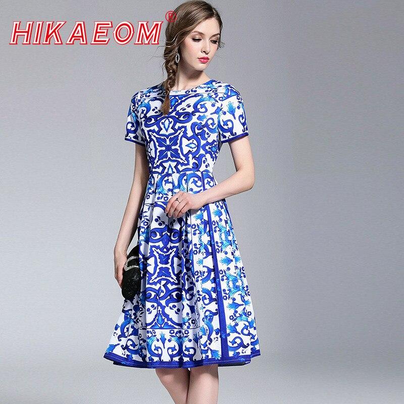 2018 새로운 도착 짧은 소매 파란색과 흰색 인쇄 도자기 여름 드레스 여성 고품질 활주로 세련된 드레스-에서드레스부터 여성 의류 의  그룹 1