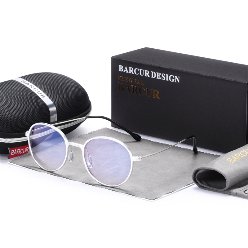BARCUR New Computer Glasses Round Anti Blue Light UV Blocking Gaming Filter