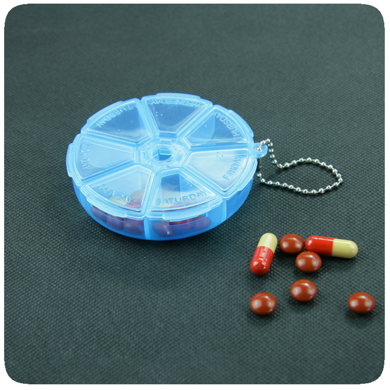 Portable Medicine Box 7 Days Weekly Pillbox Creative Rotating Pill Box Mini Plastic Storage Container Keychain Tablet Separator 4