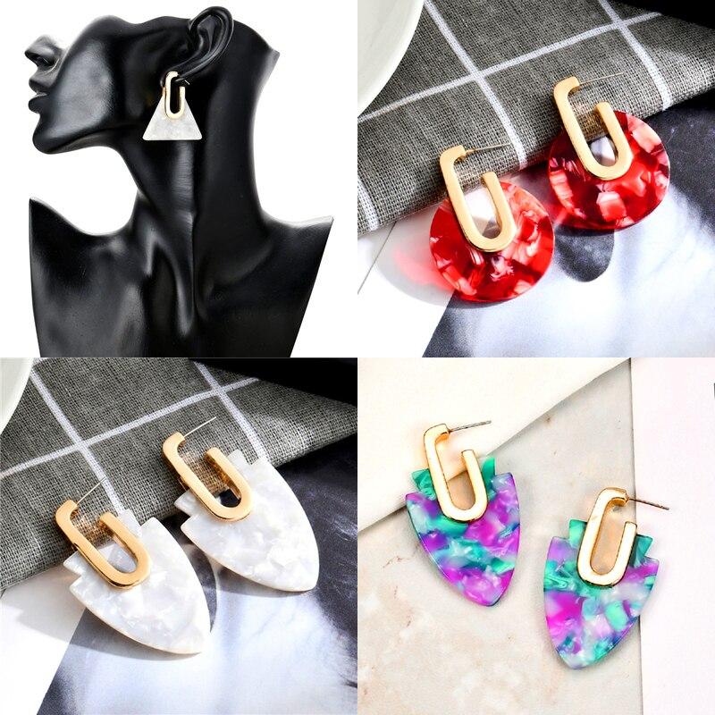 3 style Hot Sale Round Earring Geometry Exaggeration Acetic Acid Stud Earrings For Women Elegant Design ec