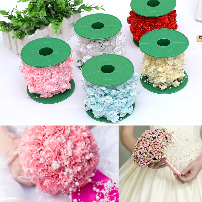 High Quality Beads Christmas Bridal Inlay Line Fishing Rose Decoration Roll Wedding Hair Accessories
