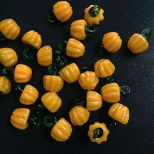 10pcs/lot Murano Lampwork Yellow Pumpkin Glass Beads Charms For Earring Necklace Jewelry Making