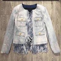 Джинсовая куртка Для женщин Демисезонный верхняя одежда с длинными рукавами 2018 Мода кисточкой куртка Для женщин