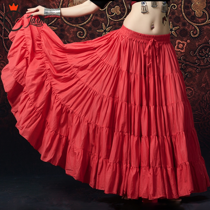 Danza Del Ventre delle donne di Qualità di Hight Gonne Professionale Abbigliamento In Cotone Lungo Pieno Circel 360 Gradi Pannello Esterno di Ballo ATS (21 metri)