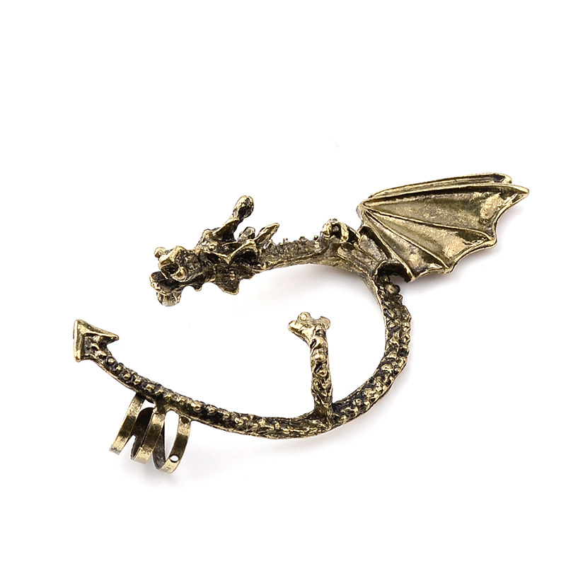 Hot Selling Black Silver Bronze 3 Colors Gothic Punk Ear Cuff Game of Thrones Dragon Ear