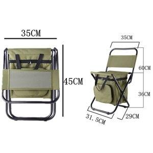 Image 5 - 釣り椅子可動冷蔵庫レザーウォームコールドプルーフポータブル折りたたみビーチチェア約 1350 グラムシートキャンプ 100 キログラムと椅子ポケット