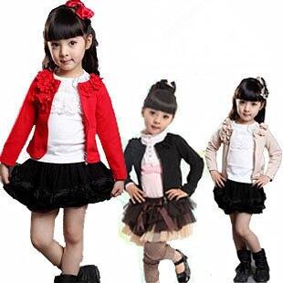 (Free Shipping)2012 New Fashion Children Girls Jacket Long-sleeve Zipper Cardigan Autumn/Winter Baby Outerwear Coats