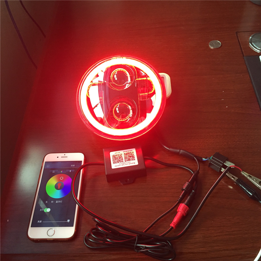 5-3/4 RGB Multi-Color White Red Blue Green LED Halo Angel Eye Headlights 5.75 Inch LED Projection Moto For Harley Headlight