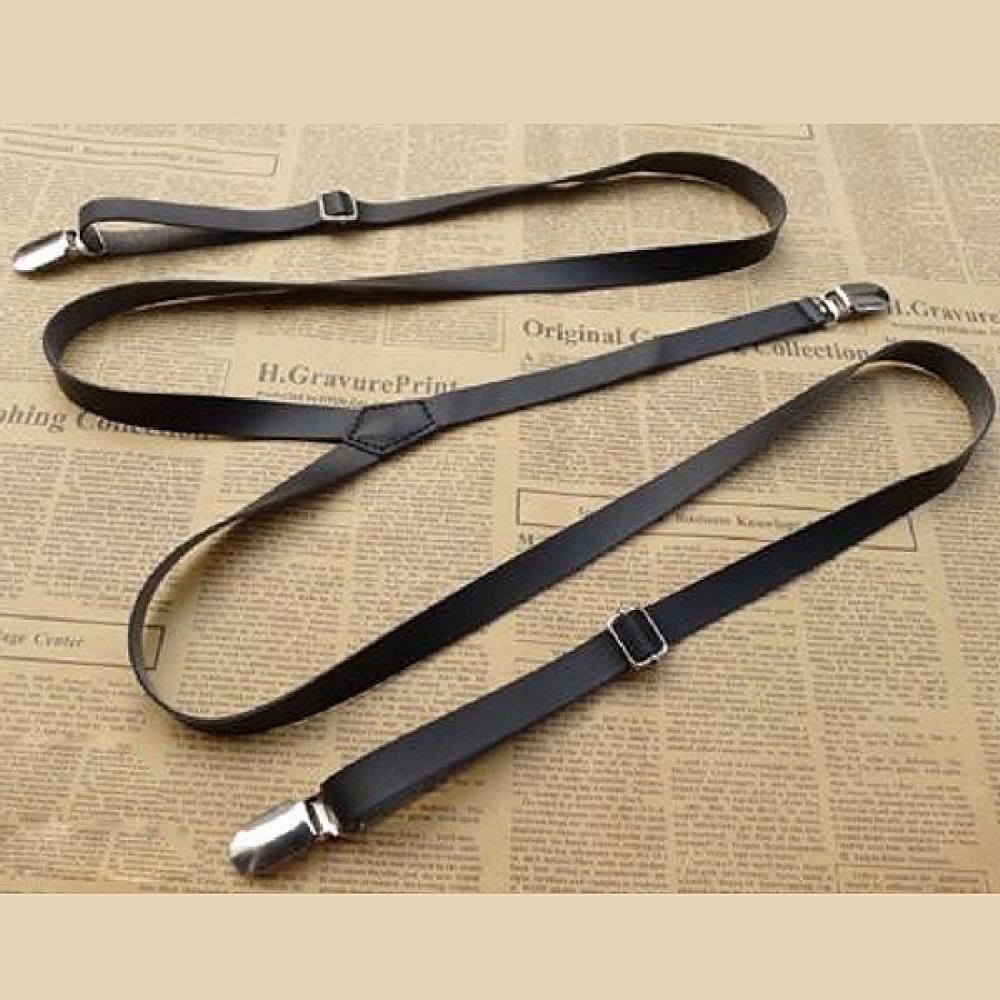 Hot Fashion 1.3*110cm Mens Womens Leather Suspenders Y-Back Retro Braces Clip-On 6 Colors