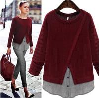 Autumn Winter Fashion Women Pullovers Plus Size XL 5XL Women Clothing Fake Two Piece Loose Knit