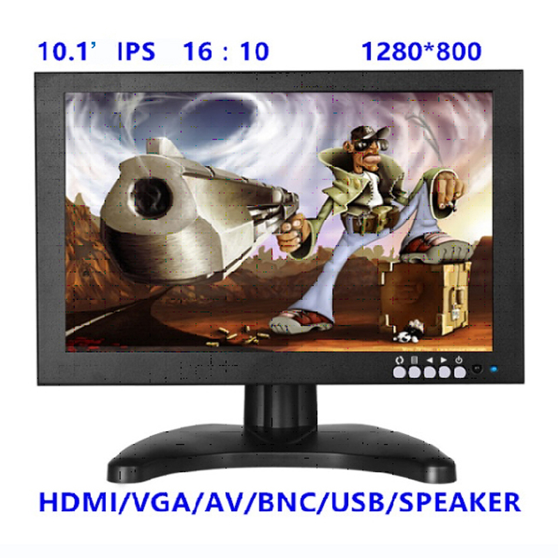 10 Inch IPS 1280*800 CCTV Monitor with Metal Shell & HDMI VGA AV BNC Connector for PC Multimedia & Donitor Display & Microscope escam t10 10 inch tft lcd remote color video monitor screen with vga hdmi av bnc usb for pc cctv home security system camera