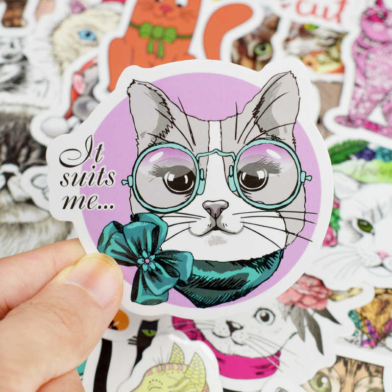 50 шт милый Кот стикер ноутбук Кожа индивидуальное украшение случайный водонепроницаемый и устойчивый к царапинам