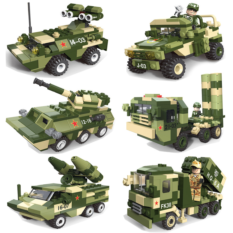 6in1 Army Cars Playmobil DIY Building Blocks Toys For Children boys gift compatible legoed Military tank Brinquedo Bricks toys