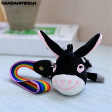 HANDANWEIRAN 1PCS Korean Version Of The Small Donkey Plush Toy Mobile Phone Chain Ornaments Hanging Neck Toys Creative Gift 13CM