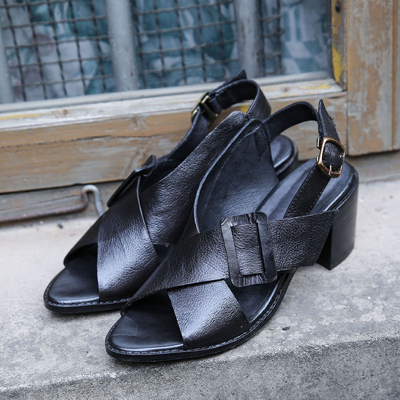 Style Talon 2019 Poissons Épais Sandales Dark Véritable Green Bouche Nouveau Femmes Mode black En dark Grey Brown Spartiates De Chaussures Cuir Été Confortable ErqwExzaZ