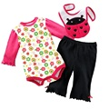 Baby Outfits Suits Baby's Bodysuit Bibs Pants Toddler Trousers Overalls baby girls clothes 3PCS Sets