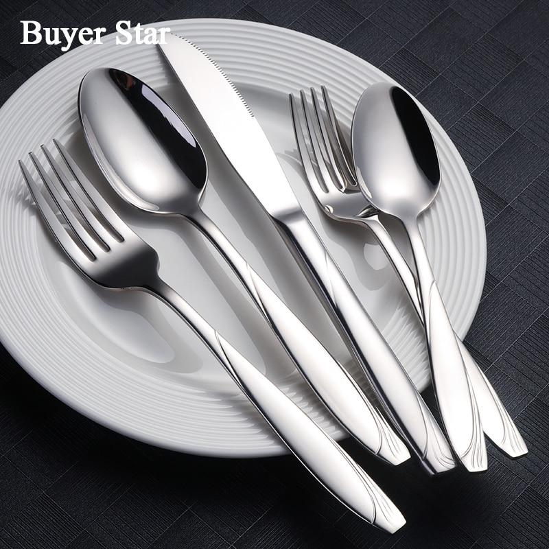 Wholesale 20PCS Dinner Set 18 8 Stainless Steel Silver Dinnerware Luxury Engraved Knife Fork Tablespoon Tableware