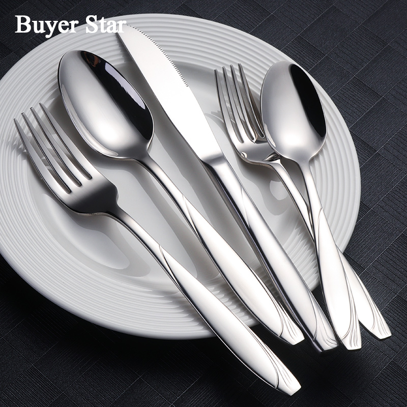 Wholesale 20PCS Dinner Set 18/8 Stainless Steel Silver Dinnerware Luxury Engraved Knife Fork Tablespoon Tableware Cutlery Set-in Dinnerware Sets from Home & Garden    1