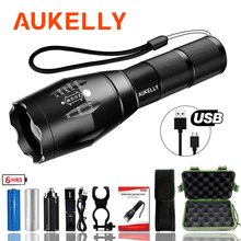 Aukelly High power Rechargeable Led flashlight Military Tactical Long Range torch light linternas Zoomable lantern hunting Lamp