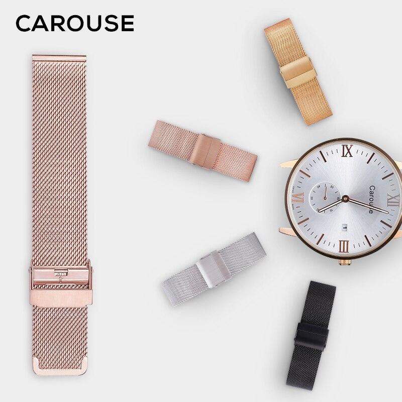 Carouse Milanese Cinturino 16mm 18mm 20mm 22mm Metallo Watch Band Strap Universale In Acciaio Bracciale in acciaio Nero rosa Oro Argento