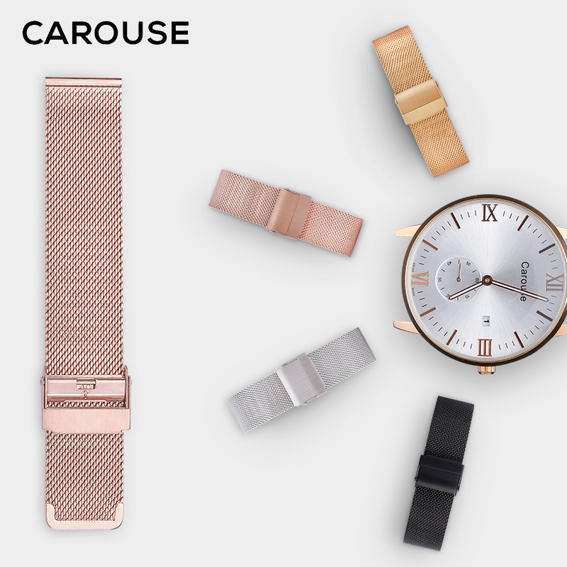Correa de reloj Carouse Milanese 16 MM 18mm 20mm 22mm correa de reloj de Metal pulsera de acero inoxidable Universal Negro Rosa oro plata